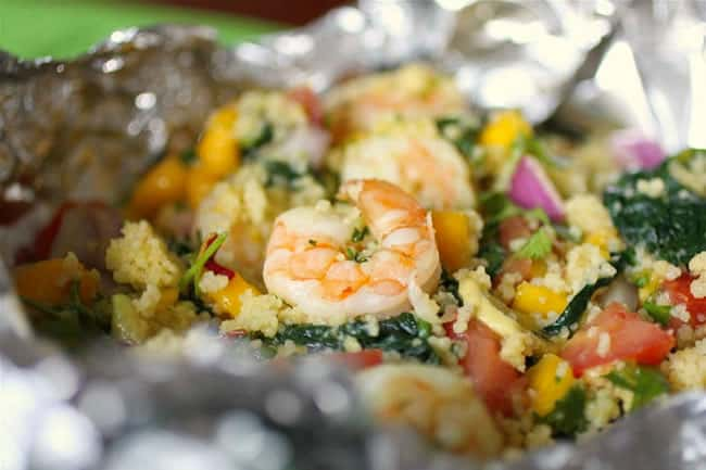 shrimp and kale with mango salsa