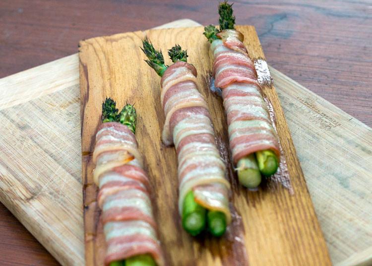 Cedar Plank Bacon Wrapped Asparagus