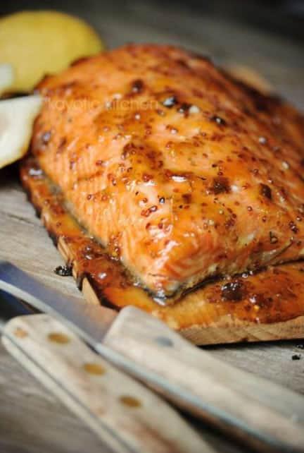 Apricot Glazed Cedar Plank Salmon