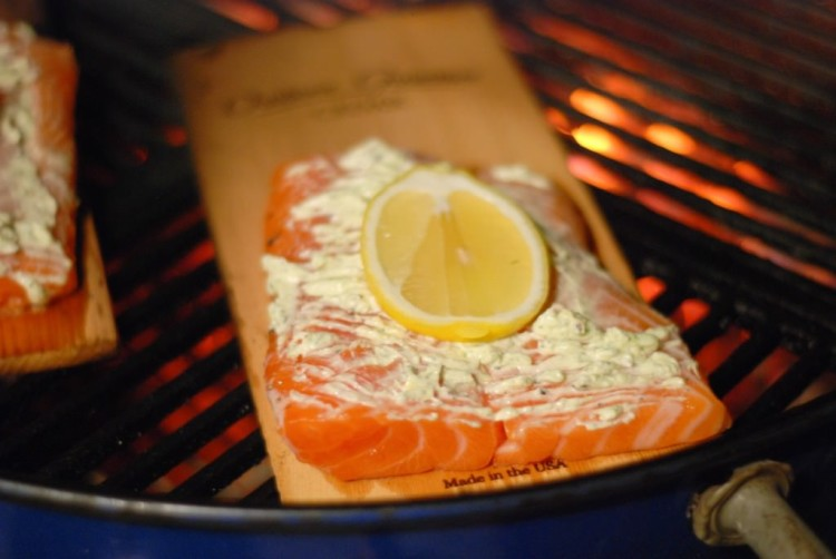 Cedar Plank Salmon with Lemon Dill Butter