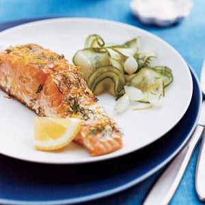 Grilled Lemon & Dill Salmon with Cucumber Salad