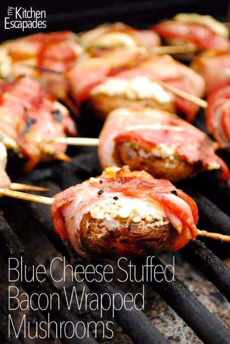 Blue Cheese Stuffed Bacon Wrapped Mushrooms