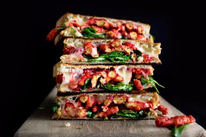 Flaming Cheetos + Arugula Grilled Cheese