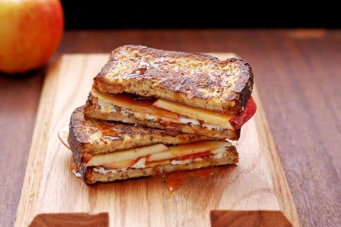 French Toast Grilled Cheese with Apples & Caramel