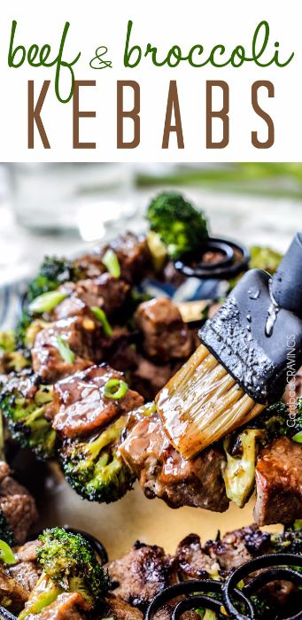 GRILLED BEEF AND BROCCOLI KEBABS
