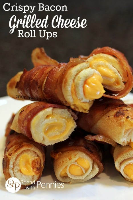 Crispy Bacon Grilled Cheese Roll Ups