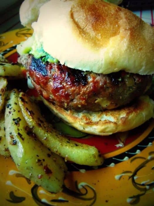 Chile Verde & Cheese Stuffed Grilled Burgers