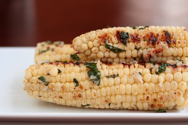Corn on the Cob with Basil Parmesan Butter