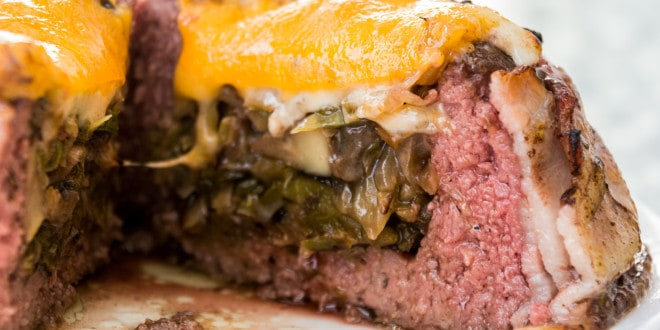 Veggie Stuffed Beer Can Burgers